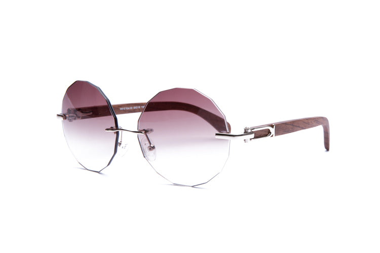 1b680dfa93 Vintage Wood Collection Rimless Gold Frame Faceted Gradient Brown Lens  Brown Wood Sunglasses - VWC Eyewear ...