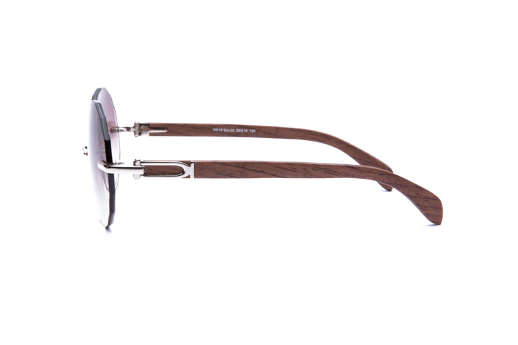 ccd174b932 ... Vintage Wood Collection Rimless Gold Frame Faceted Gradient Brown Lens  Brown Wood Sunglasses - VWC Eyewear ...