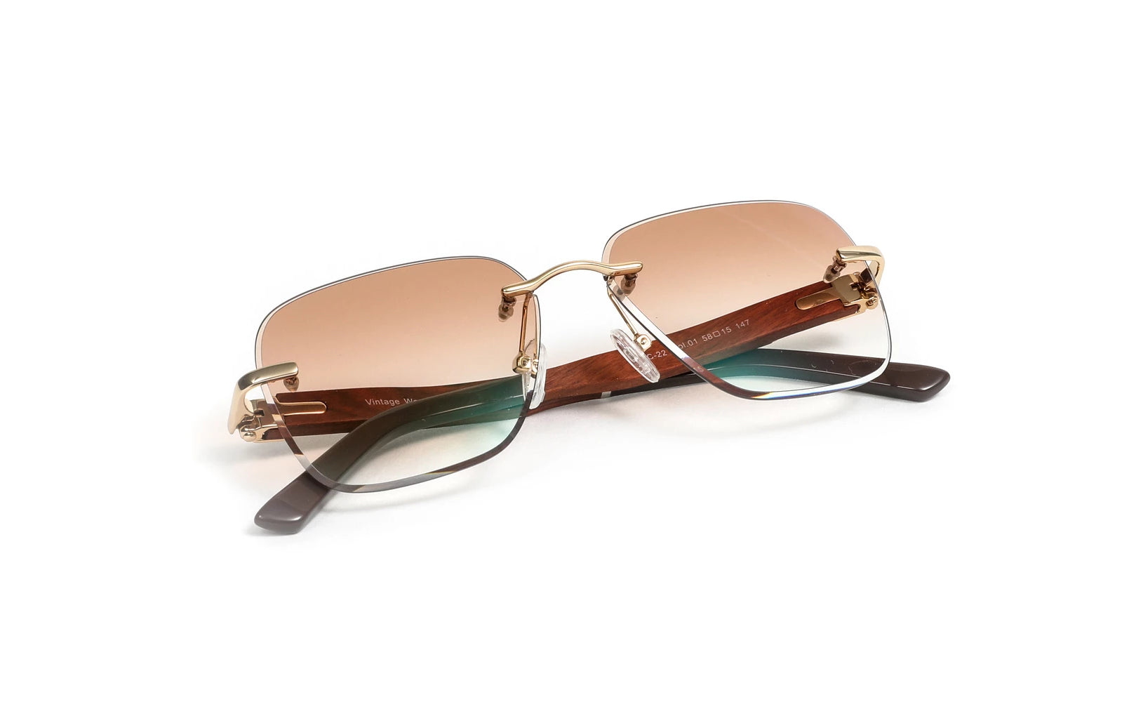 Gold, Brown Wood, and Acetate Sunglasses, Square Gradient Brown Anti Reflective Bevel Lenses, Rimless Frame