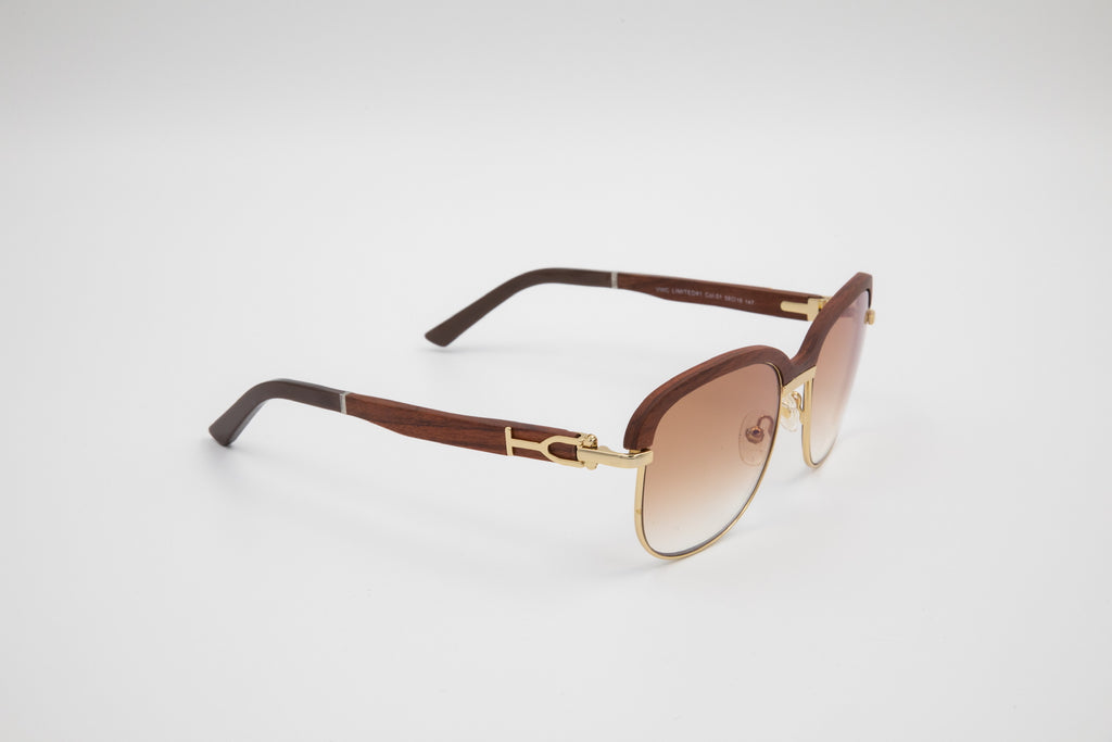 Gold and Brown Wood Top Sunglasses, Gradient Brown Anti Reflective Lens