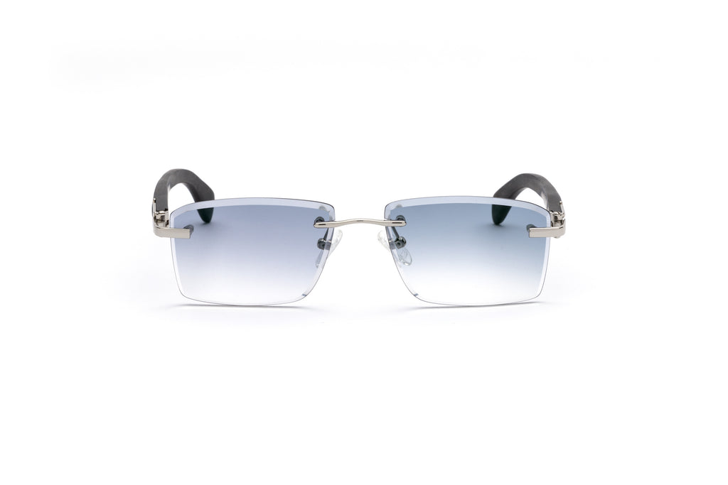68a8f3413c71 ... cartier style rimless wood sunglasses gradient grey black vintage frames  ...