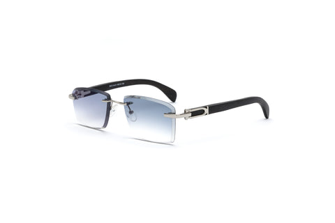 cartier style rimless wood sunglasses gradient grey black vintage frames