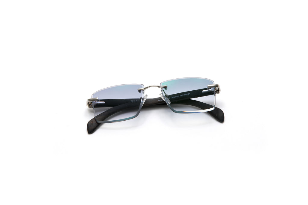 732618f29544 ... cartier style rimless wood sunglasses gradient grey black vintage frames.  VWC Eyewear