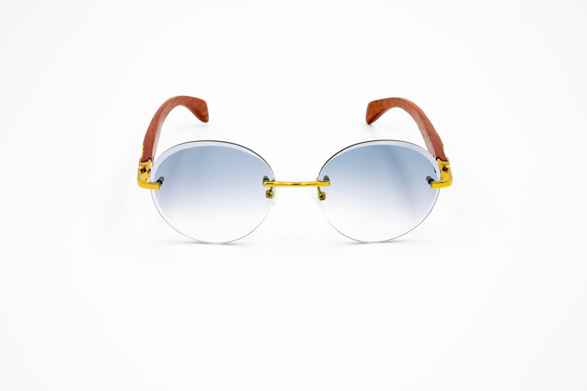 Vintage Wood Collection Rimless Gold and Wood Drill Mount Sunglasses, Round Gradient Grey Anti Reflective Bevel Lenses