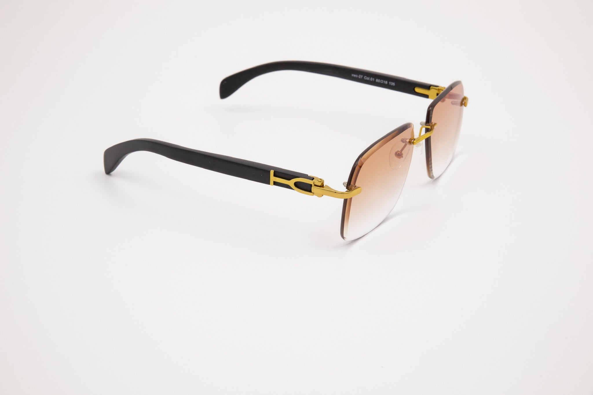 Gold and Black Wood Sunglasses, Gradient Brown Anti Reflective Bevel Lenses, Rimless Frame