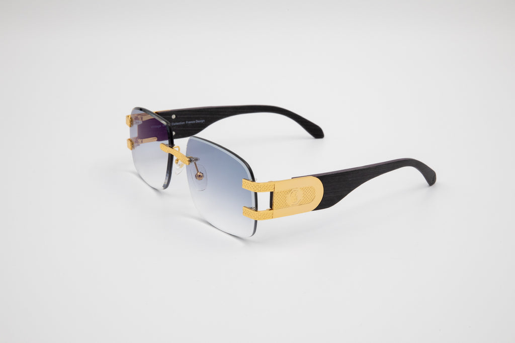 Vintage Wood Collection Rimless Drill Mount Frames, Gold and Black Wood, Gradient Gray Anti Reflective Bevel Lenses