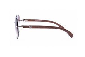 Vintage Wood Collection Rimless Large Aviator Gold Frame Gradient Brown Lens Brown Wood Sunglasses - VWC Eyewear