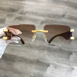 Rimless Drill Mount Frames, Gold and Brown Wood, Gradient Brown Anti Reflective Bevel Lenses