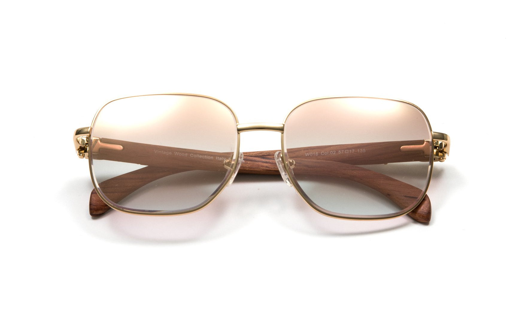 Square Gold Full Rim Frame, Brown Wood Temples, Gradient Brown White Gold Flash Lens