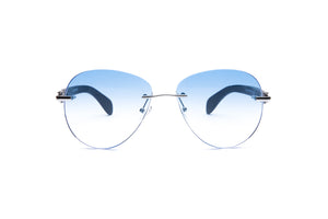 Vintage Wood Collection Rimless Large Aviator Silver Frame Gradient Blue Lens Black Wood Sunglasses - VWC Eyewear