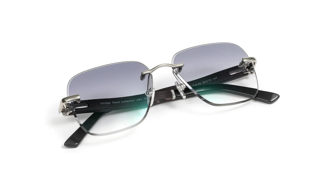 Silver, Black Wood, and Acetate Sunglasses, Square Gradient Grey Anti Reflective Bevel Lenses, Rimless Frame