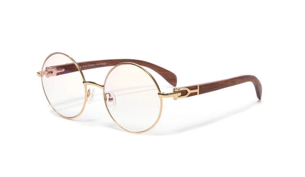 Round Gold Full Rim Frame, Brown Wood Temples, Gradient Brown Anti Reflective Lens
