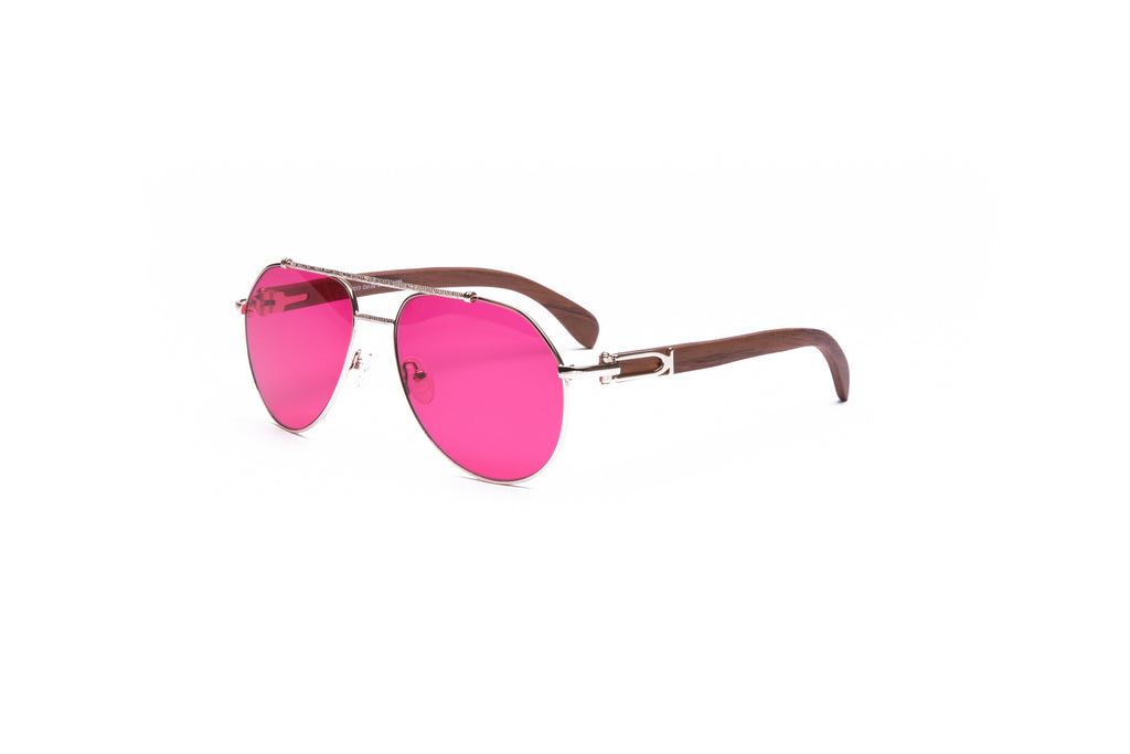 Vintage Wood Collection Gold Aviator Fuchsia Pink Lens Brown Wood Sunglasses