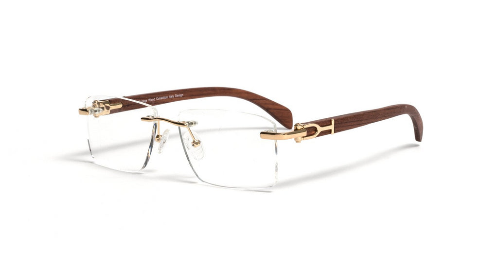 Vintage Wood Collection Rimless Gold Square Frame Clear Lens Brown Wood Eyeglasses