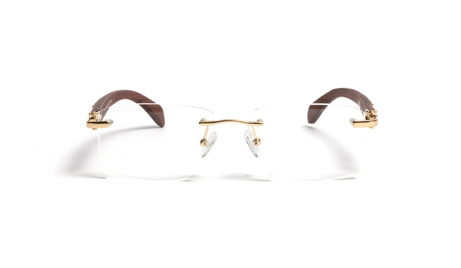 Vintage Wood Collection, Square Rimless Gold Frame Brown Wood Temples, Clear Lens