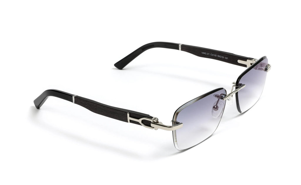 Silver, Black Wood, and Acetate Sunglasses, Rectangular Gradient Grey Anti Reflective Bevel Lenses, Rimless Frame