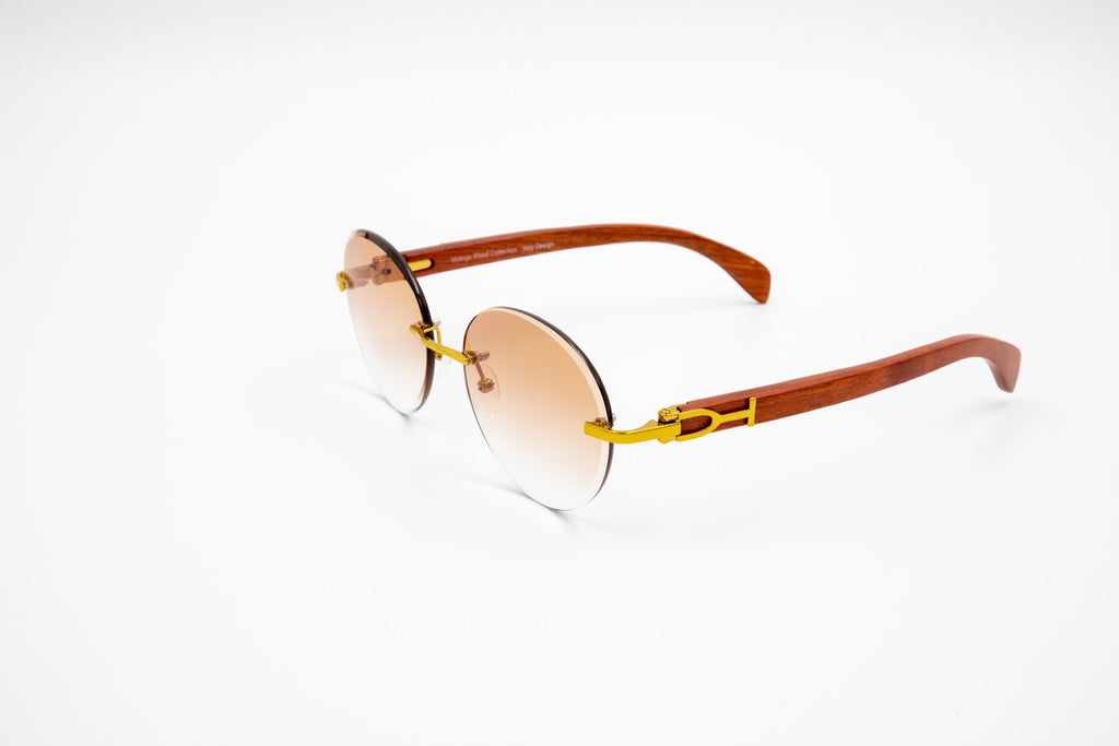Rimless round gold and brown wood sunglasses