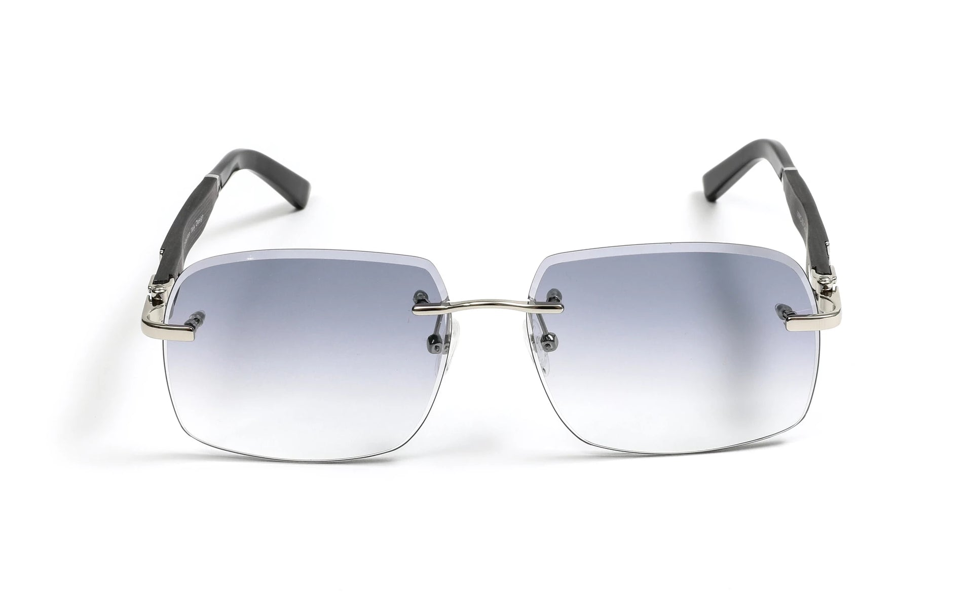 Silver, Black Wood, and Acetate Sunglasses, Gradient Grey Anti Reflective Bevel Lenses, Rimless Frame