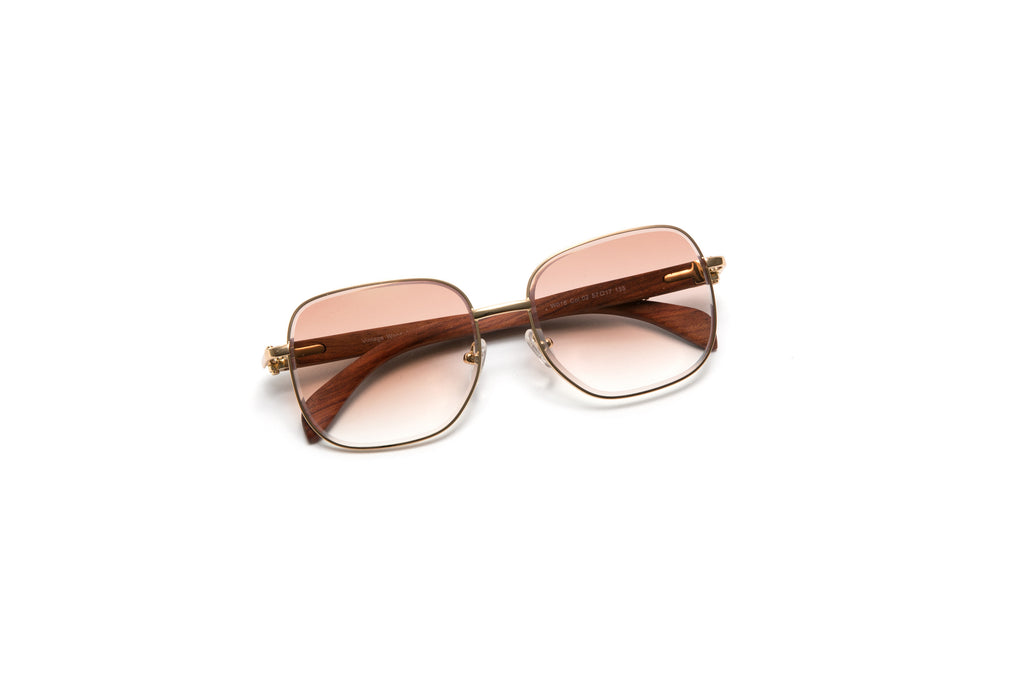 13325a607364 ... vintage wood sunglasses cartier style gold c decor frames. VWC Eyewear