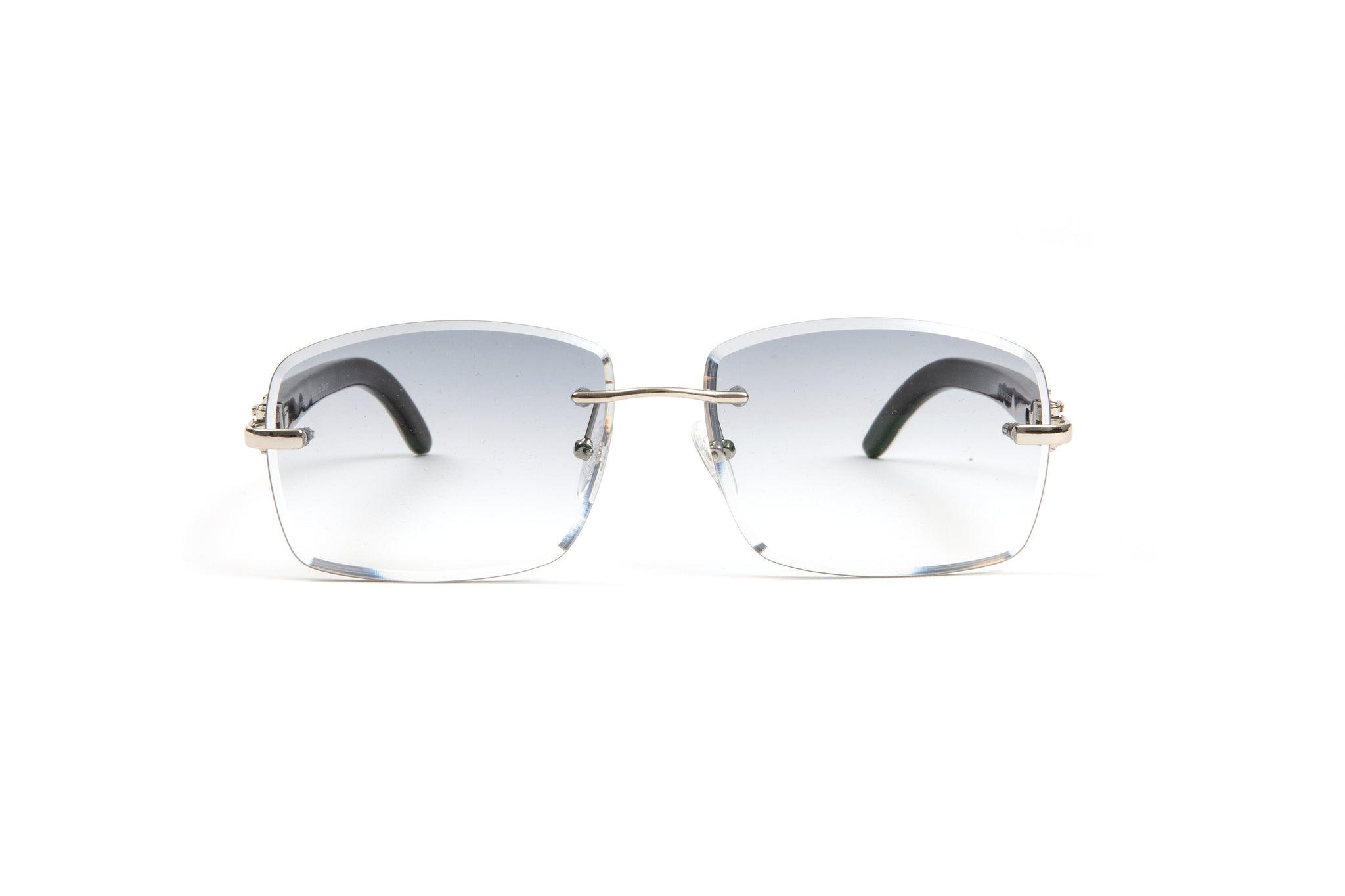 Rimless Silver and White Buffalo Horn Sunglasses, Rectangular Gradient Grey Anti Reflective Bevel Lenses