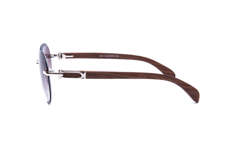 Vintage Wood Collection Rimless Gold Aviator Frame Gradient Brown Bevel Edge Lens Brown Wood Sunglasses - VWC Eyewear
