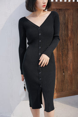 V-Neck Double-Sided Wearing Dress Black