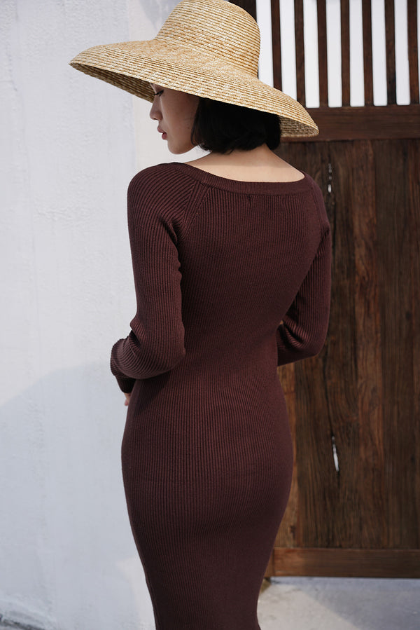 V-Neck Double-Sided Wearing Dress Brown