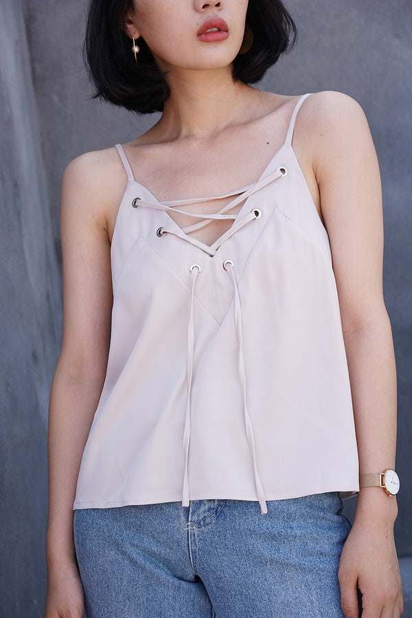 Two-Ways of Wearing Metallic Top Beige