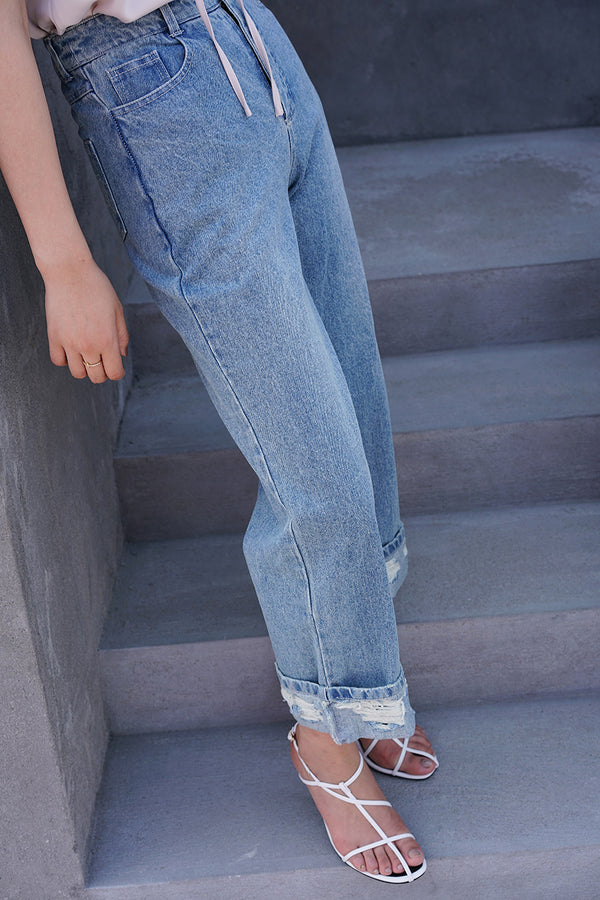 Asymmetry High-Waisted Straight Jeans
