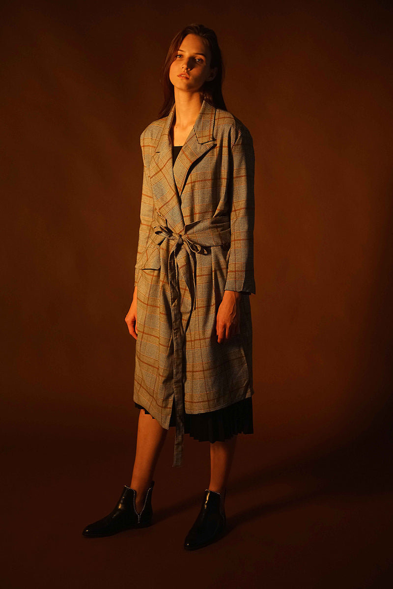 PLAID LONG COAT