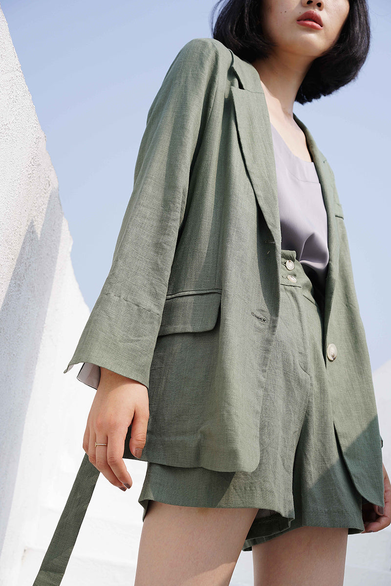 Linen Comfortable Fit Set | Forest Green
