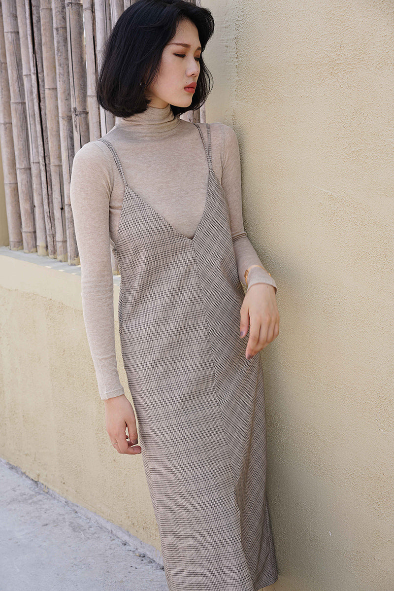 French Style Grid Slip Dress