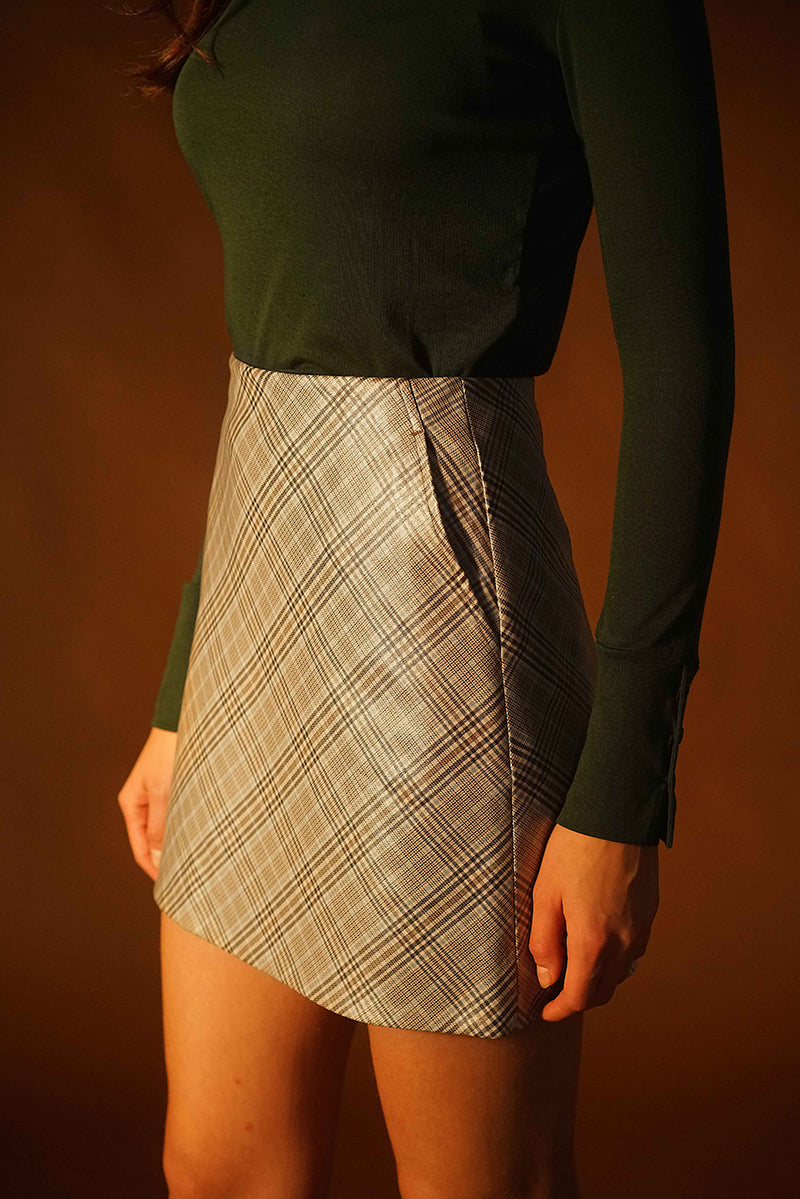 PU Grid Mini Skirt