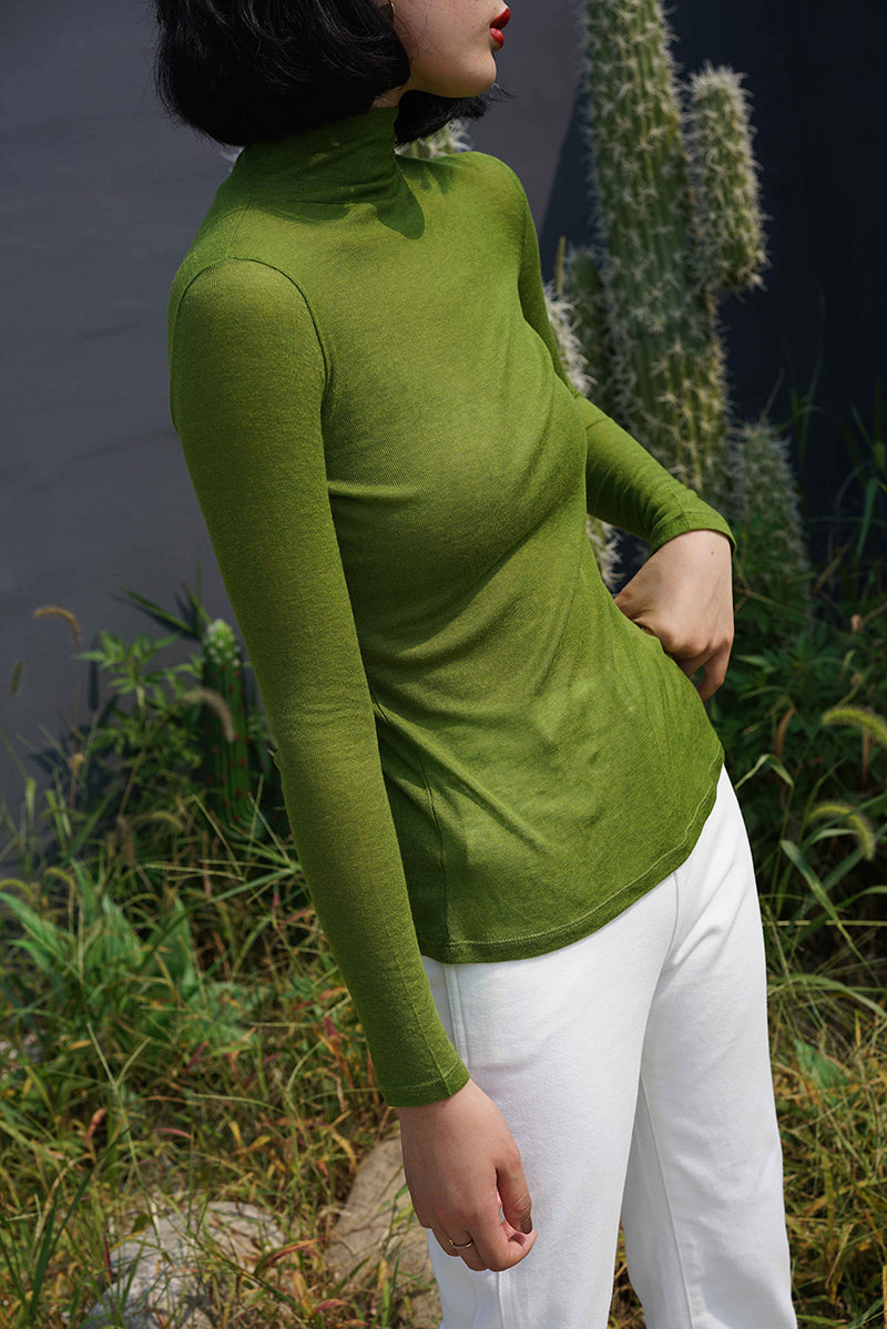 Midi Collar Cashmere Slim Base | Forest Green