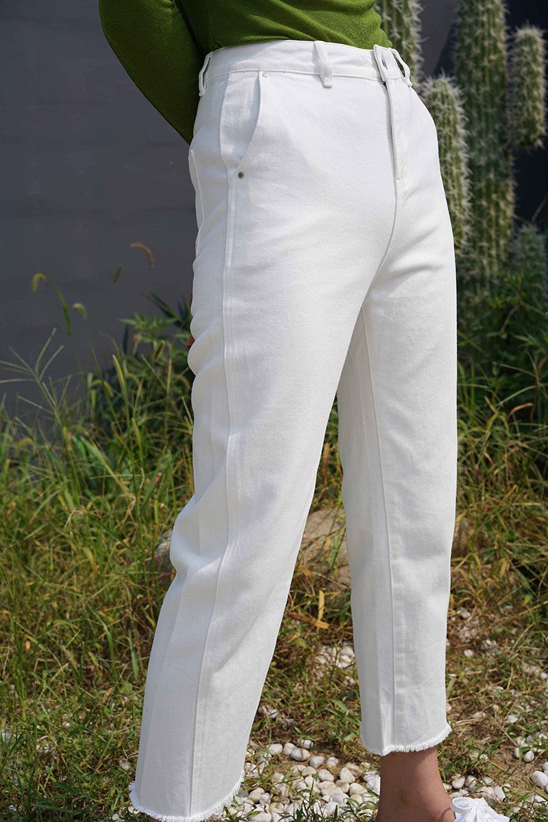 Chic Style Basic Straight Jeans | White