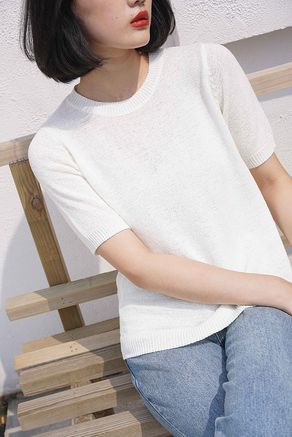 THREE COLORS BASIC KNIT TOP WHITE