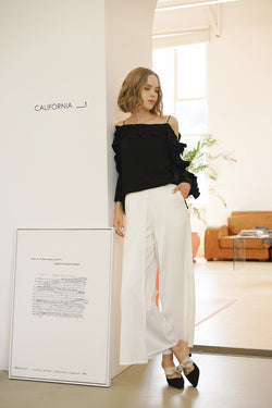 LOOSE-LEAF WIDE-LEG PANTS