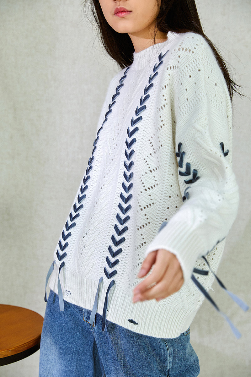 BRAID WOOL SWEATER WHITE