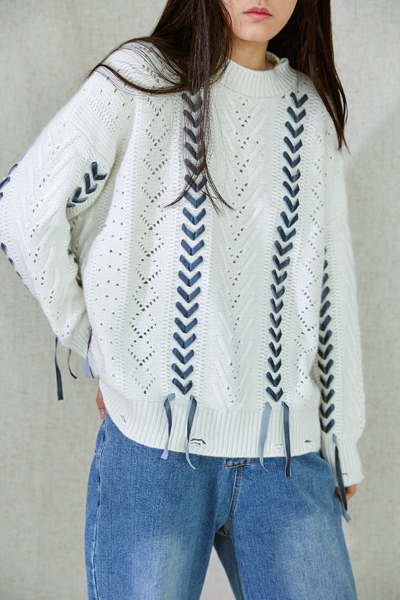 BRAID WOOL SWEATER CAMEL
