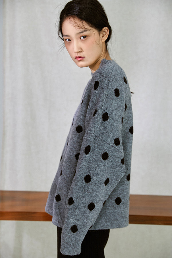 POLKA DOT NAP SWEATER GREY
