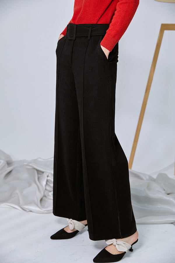 REFINED WIDE-LEG BELT PANTS