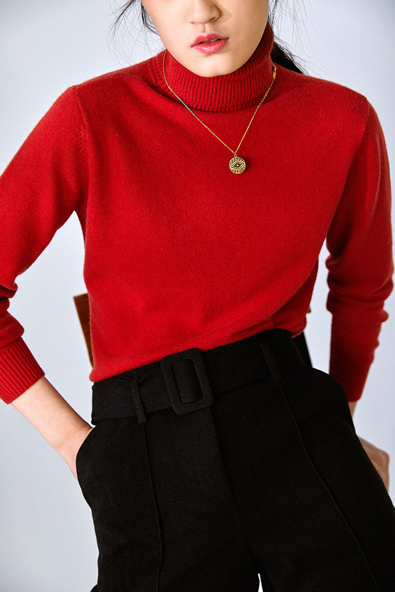 CASHMERE KNIT TOP NEW YEAR RED