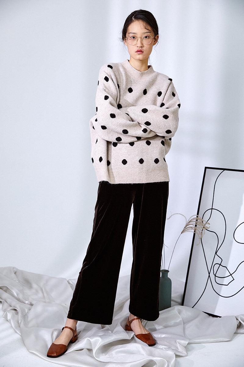 POLKA DOT NAP SWEATER BEIGE