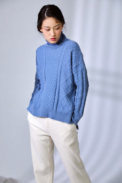 TEXTURE SENSE ANGORA FUR SWEATER HAZE BLUE