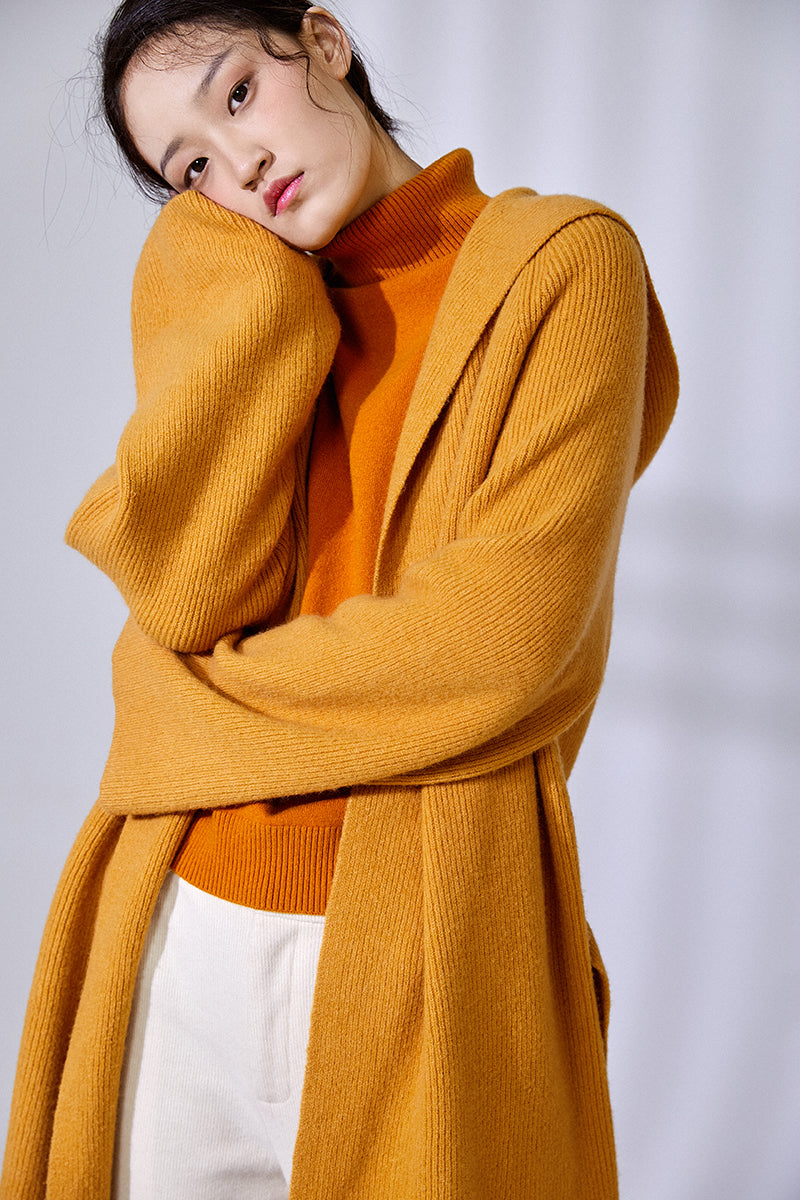 LONG SLEEVE CARDIGAN MUSTARD