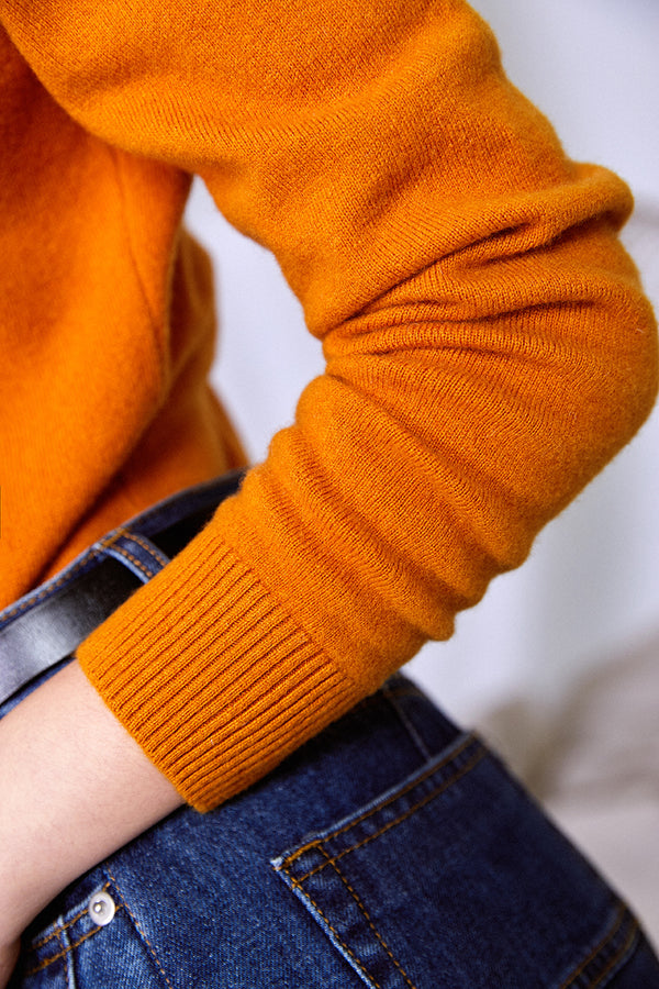CASHMERE KNIT TOP MUSTARD