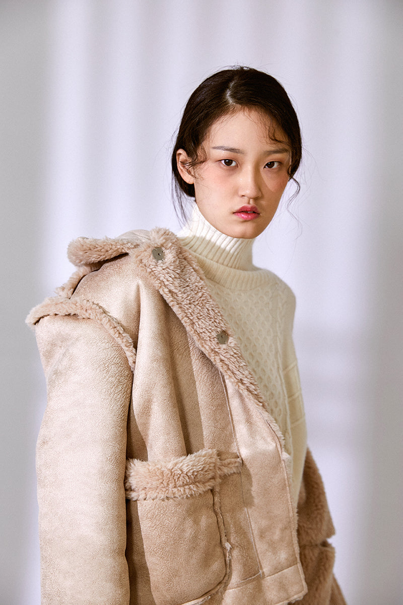 DOUBLE FACED FLEECE TEXTURED COAT BEIGE
