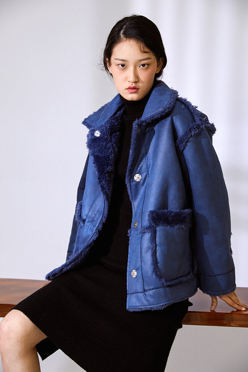 DOUBLE FACED FLEECE TEXTURED COAT BLUE