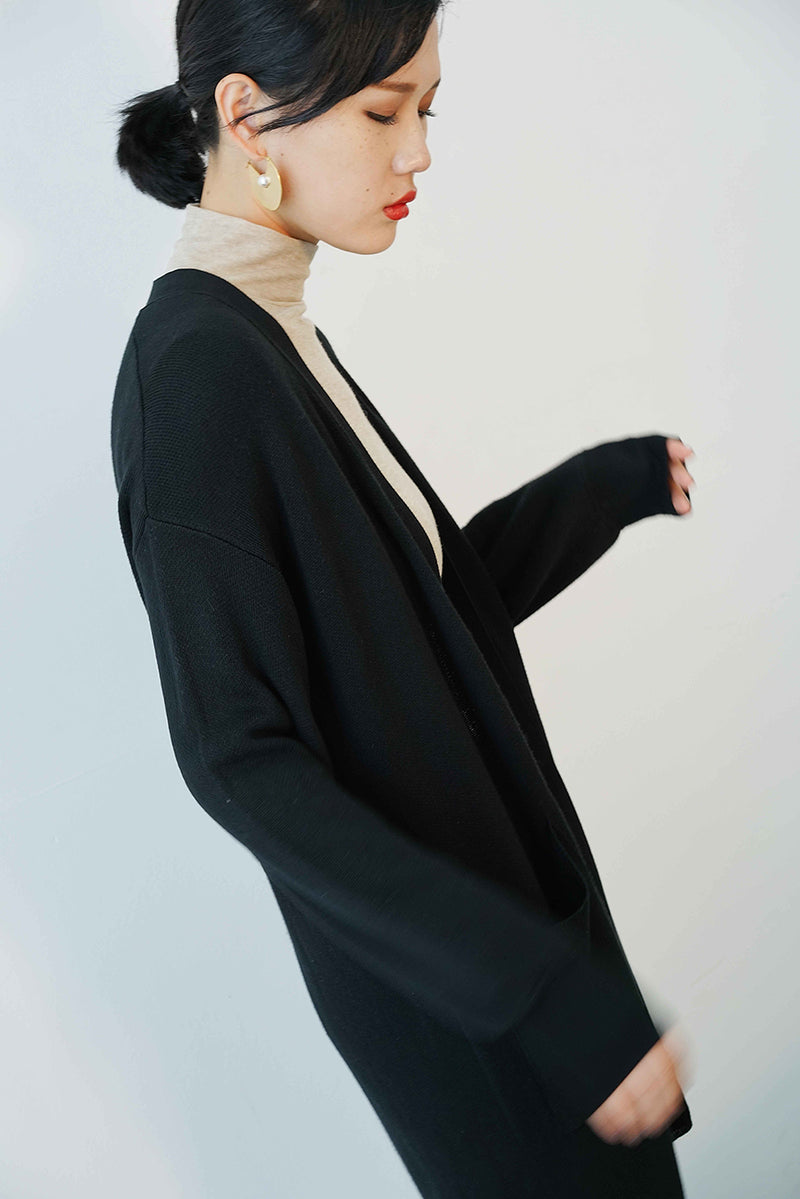 solid knit coat | long-style black
