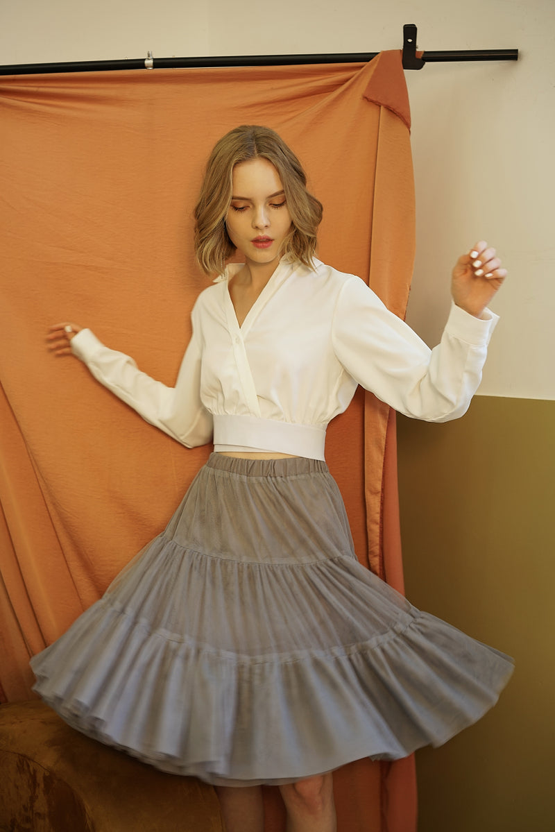 HEAVY TEXTURE TULLE SKIRT